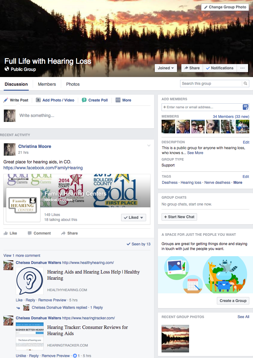 Screen shot of facebook page, full life with hearing loss